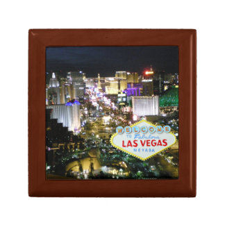 Las Vegas Strip and Sign Small Square Gift Box