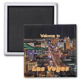 Las Vegas Strip at Night Square Magnet
