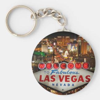 Las Vegas Strip Basic Round Button Key Ring