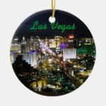 Las Vegas Strip Photo at Night Round Ceramic Decoration