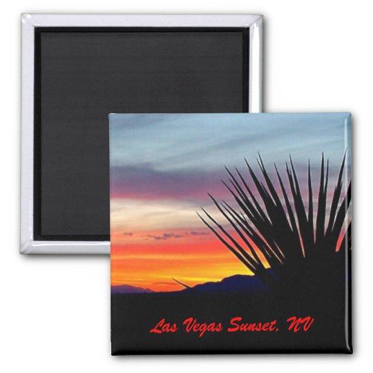 Las Vegas Sunset, NV Square Magnet