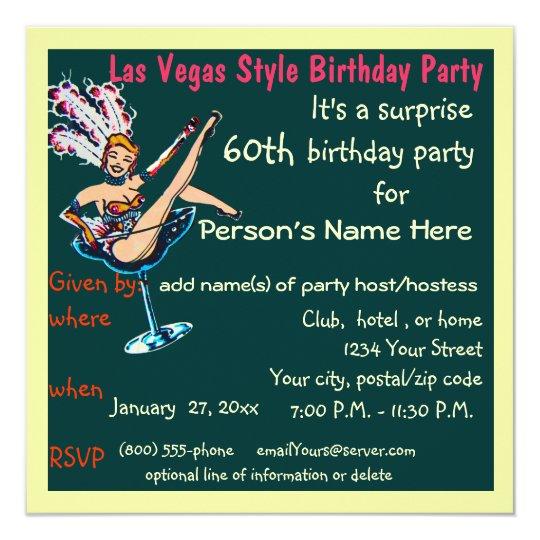 Las Vegas Theme 60th Birthday Party Card