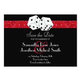 Las Vegas Theme Save the Date Red Faux Glitter Card
