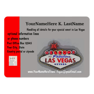 Las Vegas Travel Planner Large Business Cards (Pack Of 100)