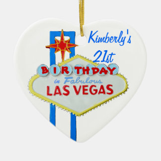Las Vegas Twenty First Birthdy Ceramic Heart Decoration