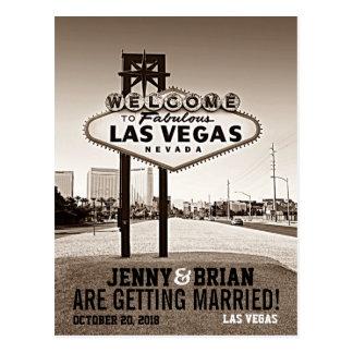 Las Vegas Vintage Sepia Wedding Save The Date Postcard