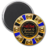 Las Vegas VIP Blue Gold Black Casino Chip Favour 6 Cm Round Magnet