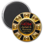 Las Vegas VIP Gold and Black Casino Chip Favour 6 Cm Round Magnet