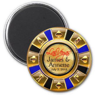 Las Vegas VIP Gold Blue Black Casino Chip Favor 6 Cm Round Magnet