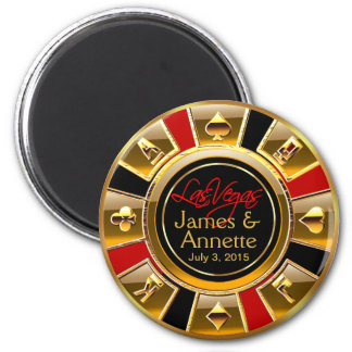 Las Vegas VIP Red Gold Black Casino Chip Favor 6 Cm Round Magnet