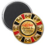 Las Vegas VIP Red Gold Black Casino Chip Favour 6 Cm Round Magnet