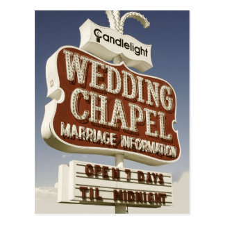 Las Vegas Wedding Chapel Retro Postcard