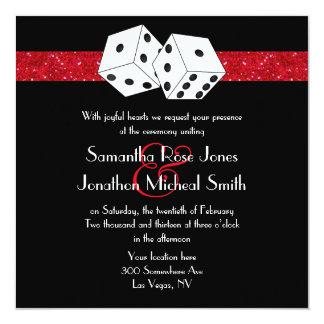 Las Vegas Wedding Dice Theme Ruby Red Faux Glitter 13 Cm X 13 Cm Square Invitation Card