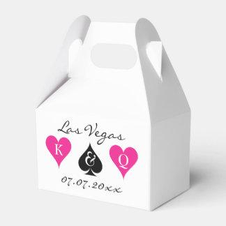 Las Vegas wedding favor box with monogram suits