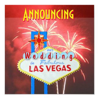 Las Vegas Wedding Fireworks 5.25x5.25 Square Paper Invitation Card