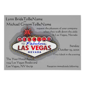 Las Vegas Wedding Invite Silver Gray