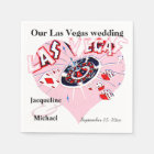 Las Vegas Wedding  Pink Heart Paper Napkin