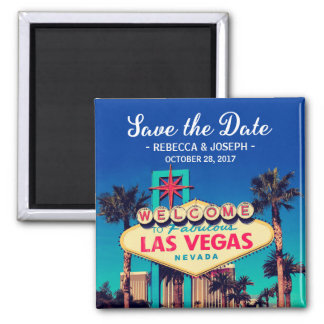 Las Vegas Wedding Retro Photo Save the Date Square Magnet