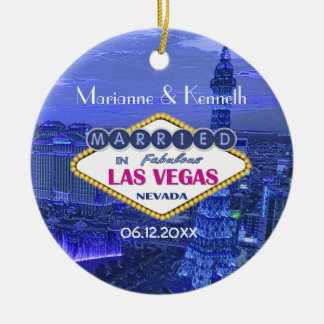 Las Vegas Wedding Round Ceramic Decoration