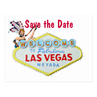 Las Vegas Wedding Sign with Showgirl Postcards