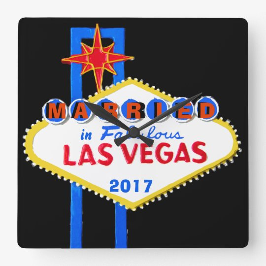 Las Vegas Wedding Souvenir Square Wall Clock