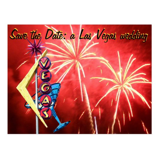 Las Vegas Wedding Vintage Sign Fireworks Postcard