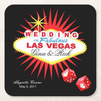 Las Vegas Welcome Sign | CHOOSE BACKGROUND COLOR Square Paper Coaster