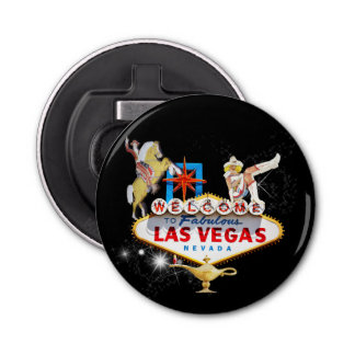 Las Vegas Welcome Sign On Starry Background Bottle Opener