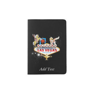 Las Vegas Welcome Sign On Starry Background Passport Holder