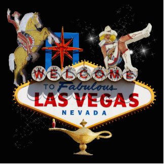 Las Vegas Welcome Sign On Starry Background Standing Photo Sculpture