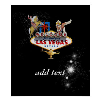 Las Vegas Welcome Sign On Starry Background Print