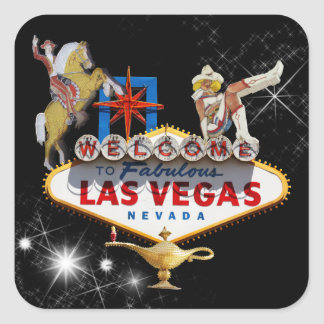 Las Vegas Welcome Sign On Starry Background Square Sticker