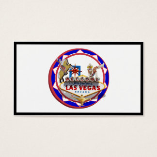 Las Vegas Welcome Sign Red & Blue Poker Chip Business Card