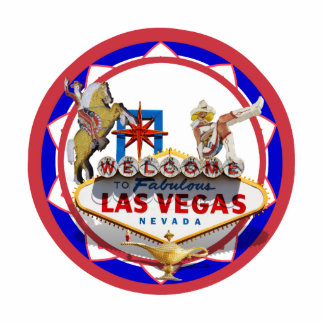 Las Vegas Welcome Sign Red & Blue Poker Chip Standing Photo Sculpture