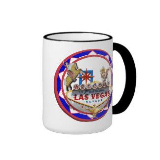 Las Vegas Welcome Sign Red & Blue Poker Chip Ringer Mug