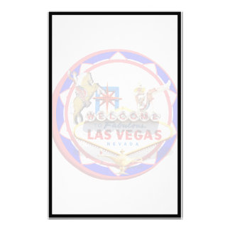 Las Vegas Welcome Sign Red & Blue Poker Chip Stationery