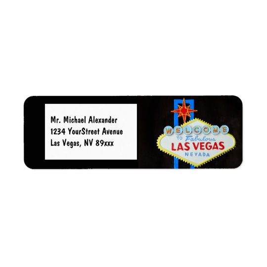 Las Vegas Welcome Sign Return Address Label