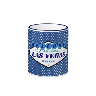 Las Vegas White Polka Dots with Blue background Coffee Mug