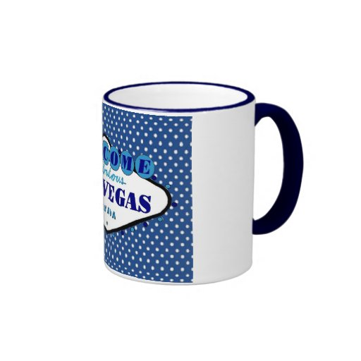 Las Vegas White Polka Dots, with Blue background   Coffee Mug