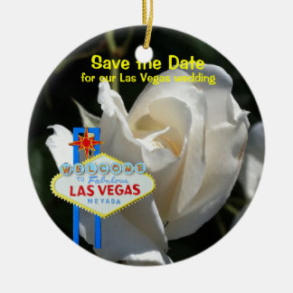 Las Vegas White Rose Wedding Announcement Christmas Ornament