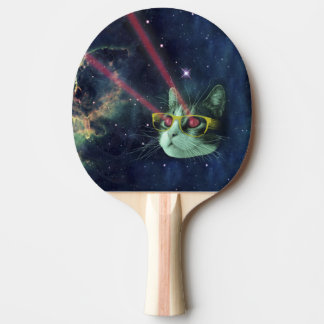 Laser cat with glasses in space