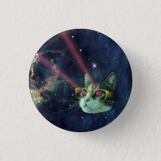Laser cat with glasses in space 3 cm round badge