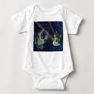 Laser cat with glasses in space baby bodysuit