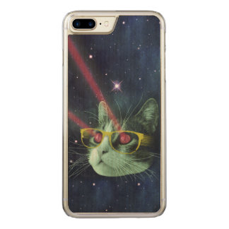 Laser cat with glasses in space carved iPhone 8 plus/7 plus case