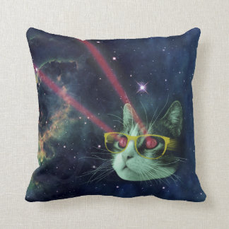 Laser cat with glasses in space cushions
