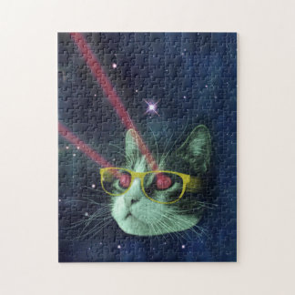 Laser cat with glasses in space jigsaw puzzle