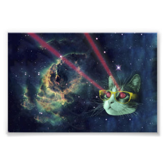 Laser cat with glasses in space photo print
