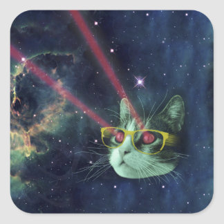 Laser cat with glasses in space square sticker