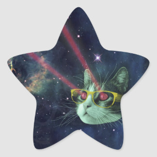 Laser cat with glasses in space star sticker