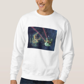 Laser cat with glasses in space sweatshirt